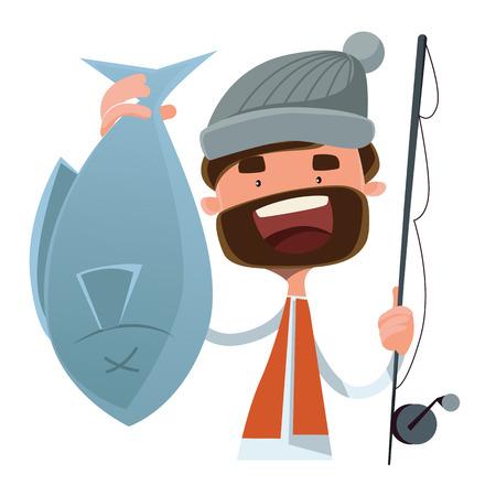 peces caricatura: Pescador pescado capturado car�cter ilustraci�n vectorial de dibujos animados