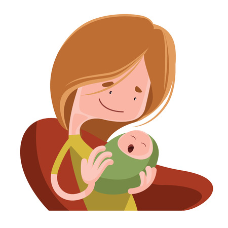 mother holding baby: Mother holding her baby vector illustration cartoon character