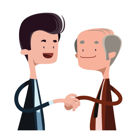 wor: People shaking hands vector illustration cartoon character