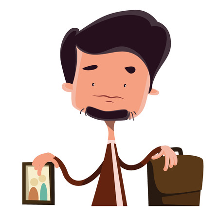 obligations: Businessman devided between family and job vector illustration cartoon character