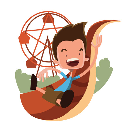 Boy at the luna park vector illustration cartoon character Illustration