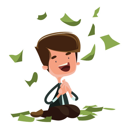 raining: Raining money happy man sitting vector illustration cartoon character Illustration