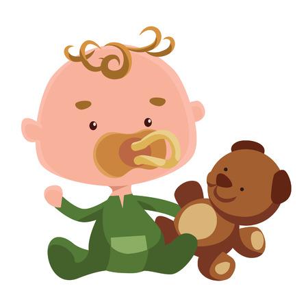 Cute baby with a teddy bear vector illustration cartoon character