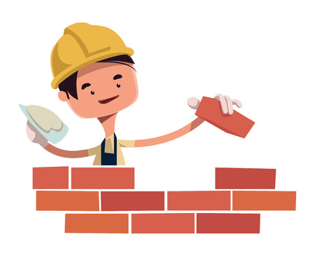 building construction: Construction worker building wall vector illustration cartoon character