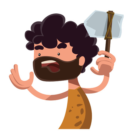 inventor: Stone age man holding ancient tool vector illustration cartoon character