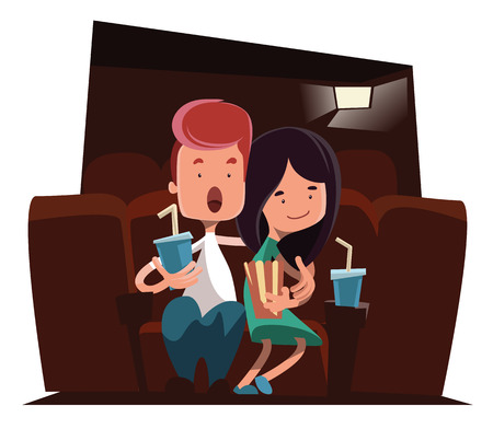 watching movie: Cute couple at cinema theatre vector illustration cartoon character