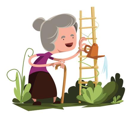 regando el jardin: Poder de riego vieja abuela jard�n de car�cter vectorial de dibujos animados
