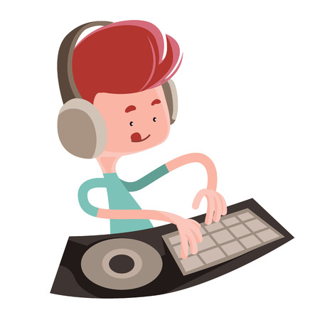 dj turntable: Dj playing music beats vector illustration cartoon character Illustration