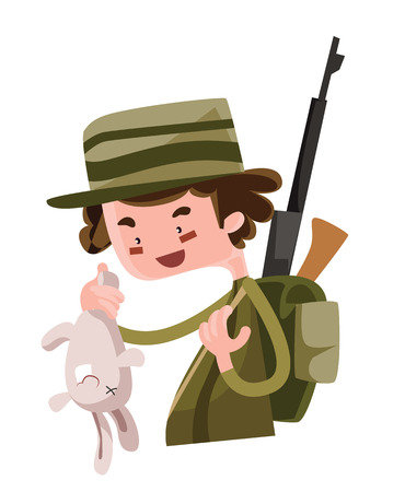Hunter shoot wild bunny vector illustration cartoon character 向量圖像