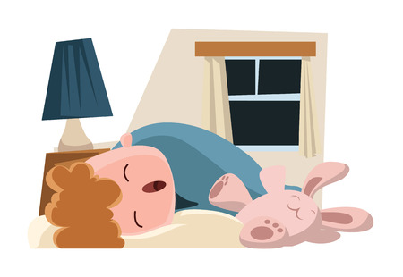 Child sleeping with its bunny vector illustration cartoon character Vector