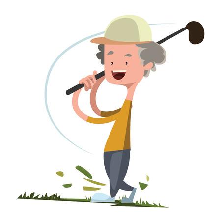 teen golf: Hombre jugando al golf carácter ilustración vectorial de dibujos animados