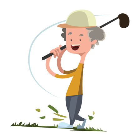 golf cartoon characters: Man playing golf vector illustration cartoon character Illustration