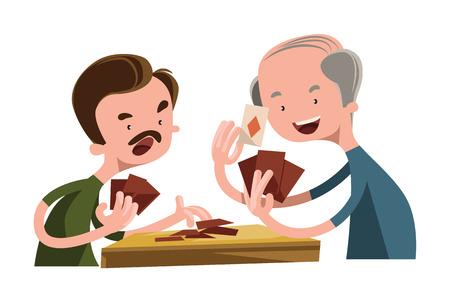 People playing poker vector illustration cartoon character Illustration