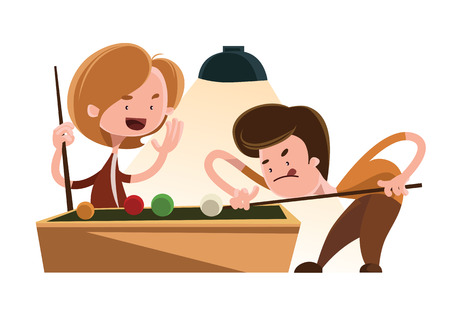 Friends playing pool vector illustration cartoon character