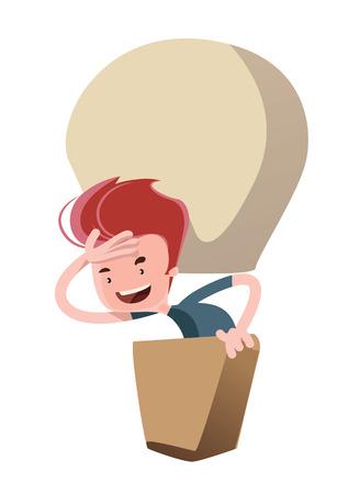 Man in a hot air balloon vector illustration cartoon character Ilustracja