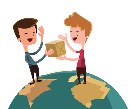 Exchanging gifts over the world vector illustration cartoon character Illustration