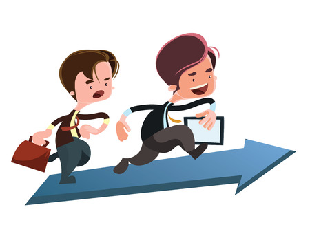 business briefcase: Running to the top business vector illustration cartoon character