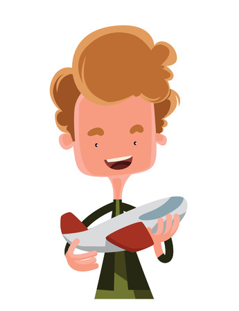 student travel: Boy holding model of an airplane vector illustration cartoon character