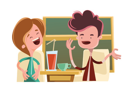 man drinking coffee: Friends talking in a bar vector illustration cartoon character Illustration
