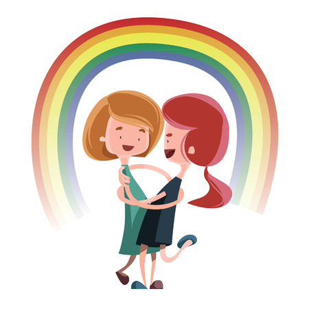 teenagers having fun: Friendship hug under rainbow vector illustration cartoon character
