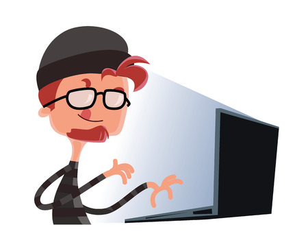 Hacker typing on a computer vector illustration cartoon character
