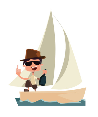 rich man: Rich man celebrating on yacht vector illustration cartoon character