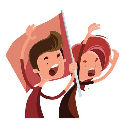 People cheering in race vector illustration cartoon character