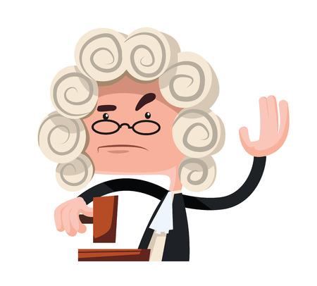 Judge making a verdict vector illustration cartoon character