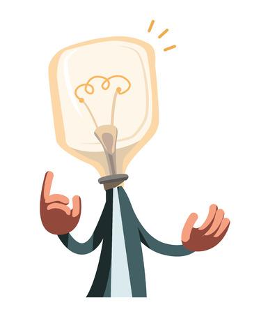 ingenuity: Man with idea light bulb vector illustration cartoon character