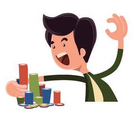 all in: Todo en fichas pocker vector personaje de dibujos animados Vectores