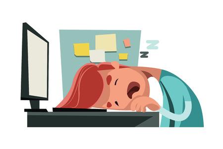 obligations: Sleeping at office on computer vector illustration cartoon character Illustration