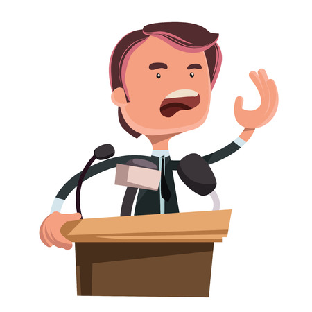 Politician giving speech vector illustration cartoon character