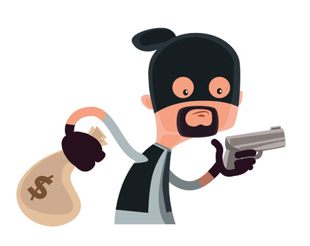woman holding money: Thief in black holding a gun vector illustration cartoon character