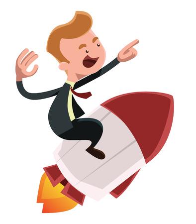 throttle: Full power forward businessman on rocket vector illustration cartoon character