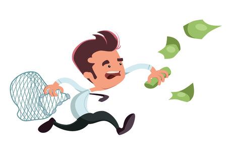 rich girl: Catching money businessman vector illustration cartoon character