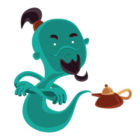 jinn: Fantasma de la l�mpara de aceite m�gico personaje ilustraci�n vectorial de dibujos animados