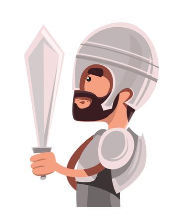 Ancient warrior in full armour vector illustration cartoon character Illustration