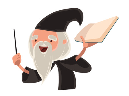 old people: Great wizard old man vector illustration cartoon character