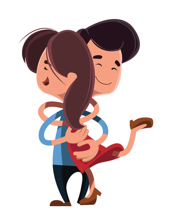 Couple hugging each other vector illustration cartoon character Illustration