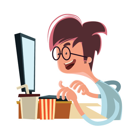 Man looking at computer vector illustration cartoon character