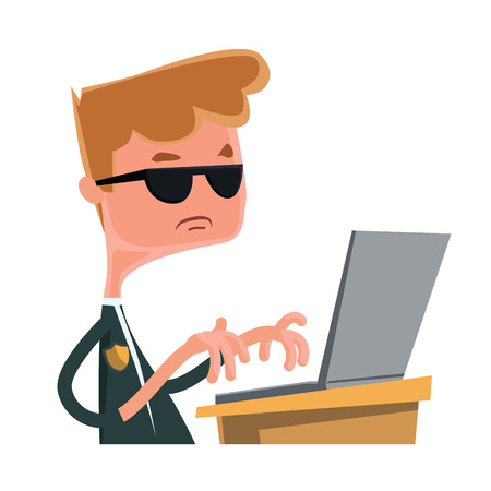 Investigation agent typing at lap top vector illustration cartoon character Illustration