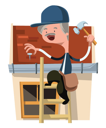 fixing: House craft worker man fixing vector illustration cartoon character