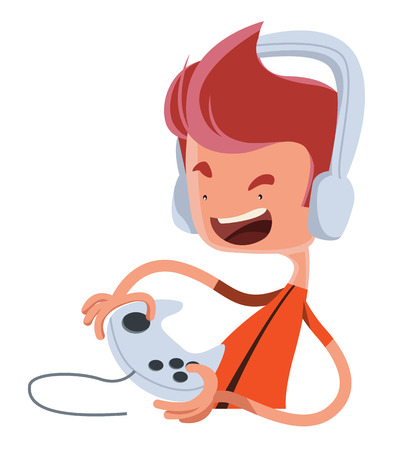 Playing the game vector illustration cartoon character Vector