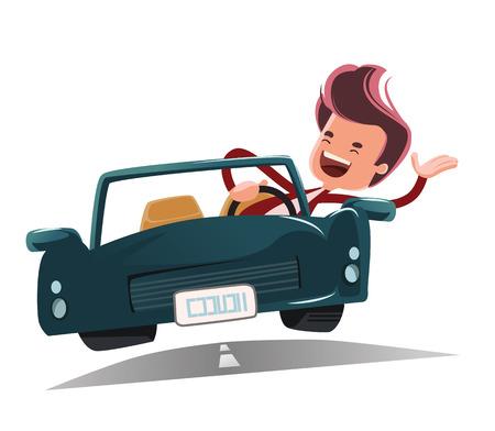 Enjoying the ride vector illustration cartoon character