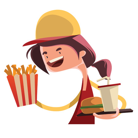 restaurant rapide: Jeune fille travaillant au caract�re vecteur illustration de bande dessin�e de restaurant fast-food