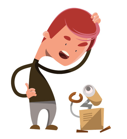 confused person: Crazy robot technology vector illustration cartoon character
