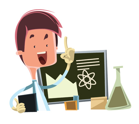Scientist teaching the science vector illustration cartoon character