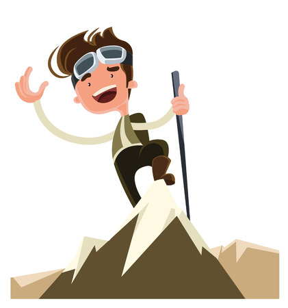 trekking pole: Conquer the mountain peak top vector illustration cartoon character