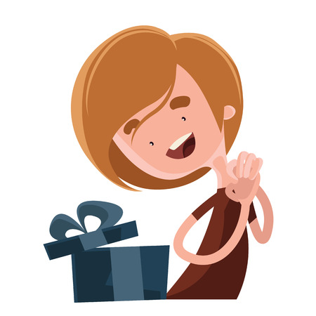 business event: Happy birthday gift vector illustration cartoon character