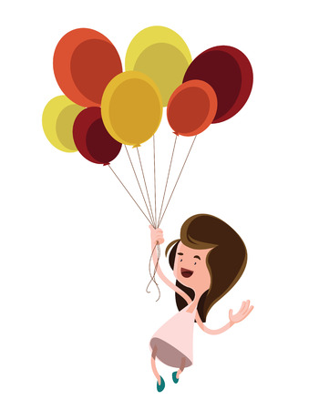 flying woman: Girl holding balloons vector illustration cartoon character
